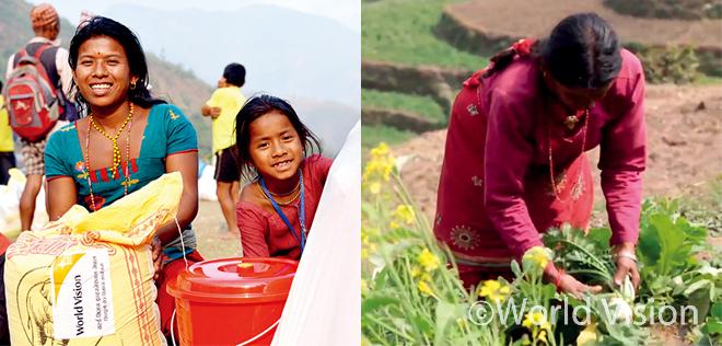 주민들에게 지원된 월드비전 식량 물품과 지원된 씨앗으로 수확을 거둔 농작물