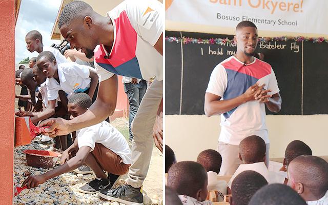 (좌) 한땀 한땀 예쁘게 학교 벽을 색칠중 / (우) 아이들의 열렬한 환영에 감동받은 샘 오취리