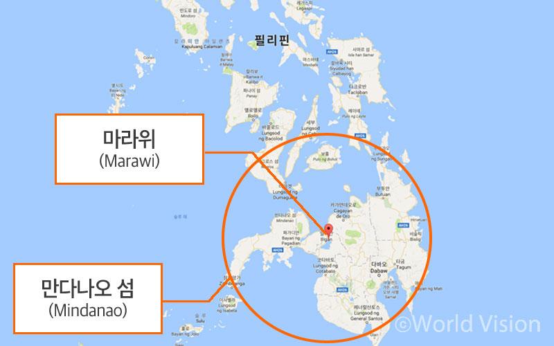 필리핀 민다나오 섬 마라위 위치 지도