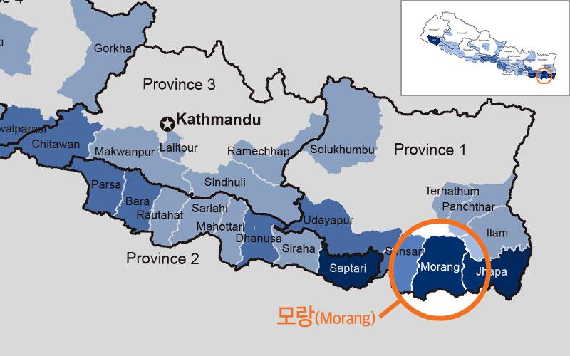 네팔 홍수 피해 지역을 나타낸 지도, 파란색이 짙을수록 피해가 큰 지역입니다. (출처: UN 네팔 인도주의 지역조정관)