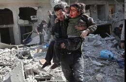 시리아 동구타 공습으로 260명이 숨졌다. 사진 출처: CNN International