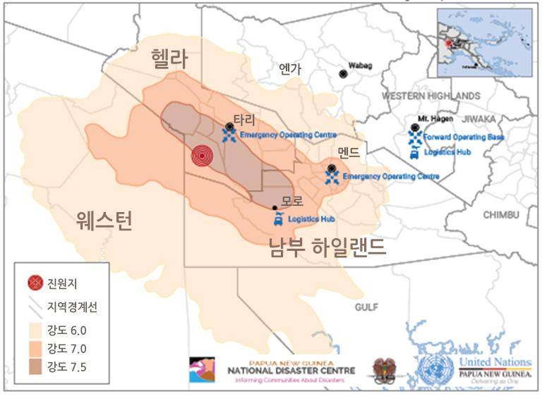 2018년 2월 26일 파푸아뉴기니 지역 별 지진 강도 출처: Humanitarian Response
