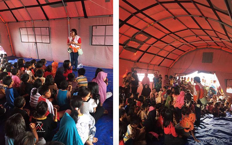 ▲ 8월 9일, 사장(Sajang) 마을 피난민 대피소 내 아동심리보호센터를 열었습니다. 100명이 넘는 아이들뿐만 아니라 부모님들의 많은 관심 속에서 월드비전을 소개합니다(출처: 월드비전)