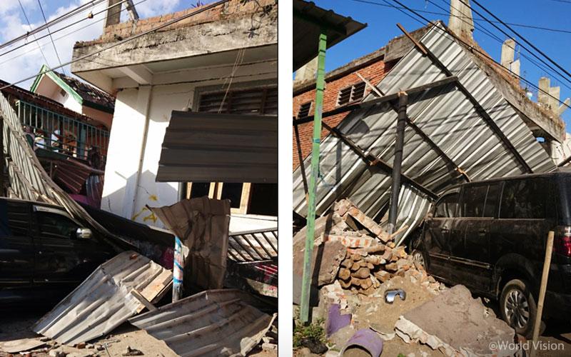 ▲ 8월 19일 발생한 강진 이후 주택 피해 모습 (출처: 월드비전)