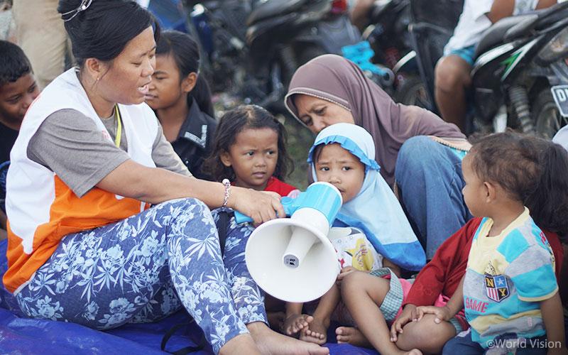 ▲ 아동심리보호센터(CFS) 지진 안전 교육 활동 모습 (출처: 월드비전)