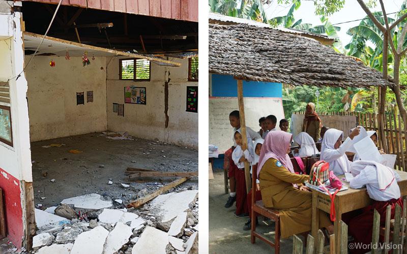 ▲ 시기(Sigi) 주에 위치한 파덴데(Padende) 초등학교의 지진과 쓰나미 피해 모습과 월드비전의 임시 학교 지원 이후 파덴데 초등학교의 모습 (출처: 월드비전)