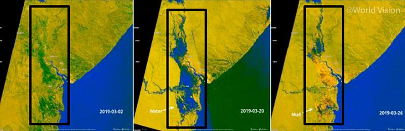 ▲ 시간 경과에 따른 모잠비크 잠베지강 유역의 위성사진 변화 (사진 출처: 월드비전)