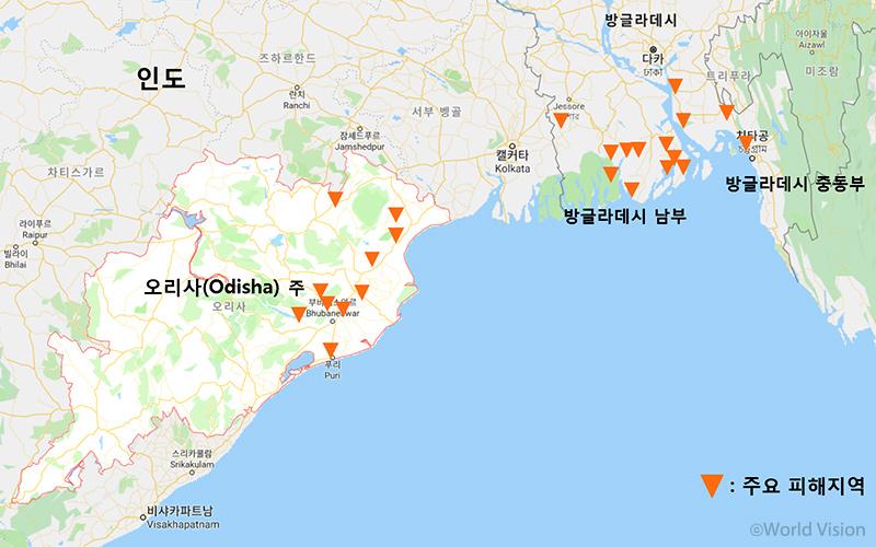 ▲ 사이클론으로 인한 주요 피해지역