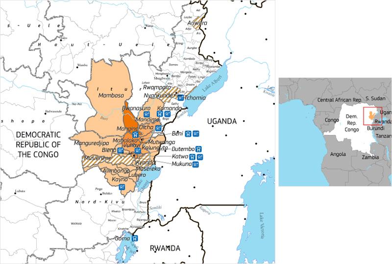 ▲콩고민주공화국 에볼라 발생 지역(자료출처: Emergency Response Coordination Centre, ERCC)