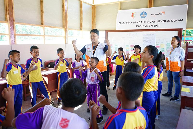 ▲ 재난으로부터 안전한 학교 활동에 참가하고 있는 아이들