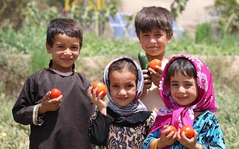 아이들이 수확된 신품종 과일을 들고 있다