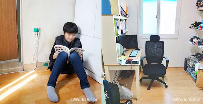 (좌) 책상이 없어 바닥에서 공부하던 민준 (우) 책상과 의자가 생긴 민준이 방