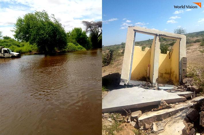 범람한 강과 떠다니는 차의 모습, 홍수로 붕괴된 화장실 건물 모습 사진