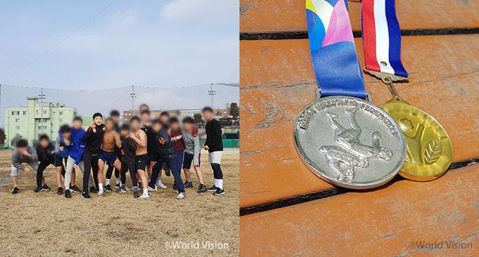 훈련중인 동호와 친구들, 금메달, 은메달