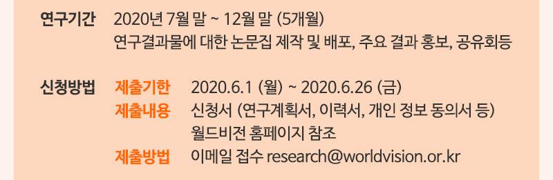 연구기간 2020년 7월 말 ~ 12월 말 월드비전 홈페이지 참조