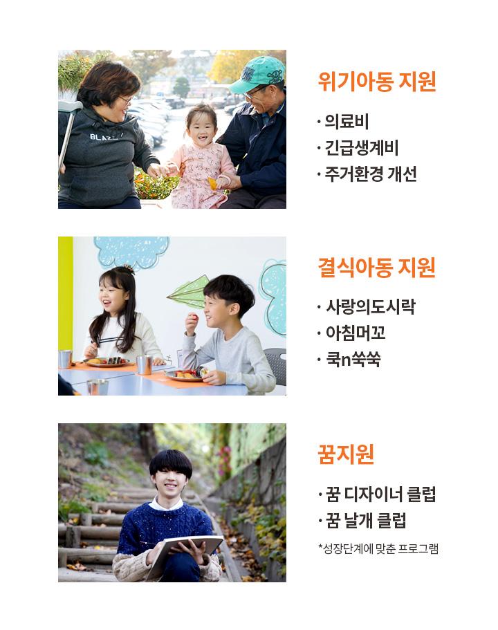 지원내용 : 위기아동지원, 결식아동지원, 꿈지원