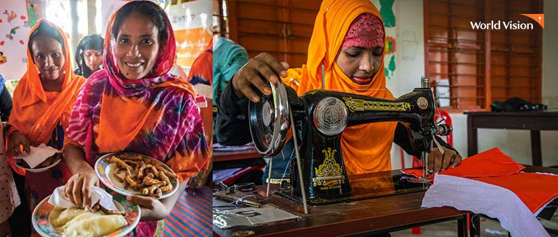 음식을 받고 즐거워 하는 여성, 재봉 기술로 근무중인 여성