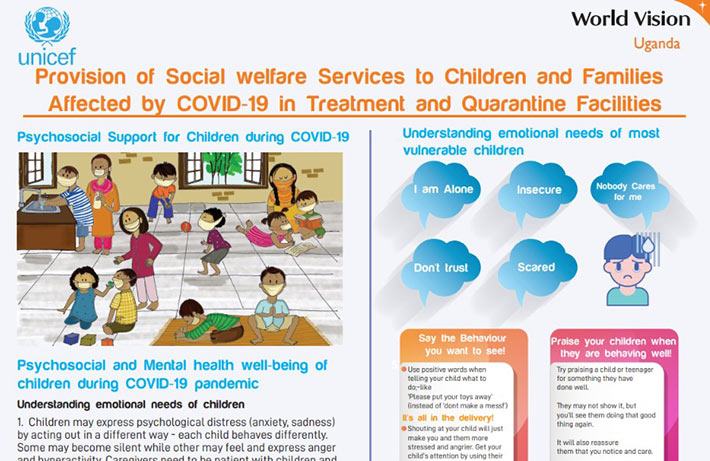 Provision of Social welfare Services to Children and Familles Affected by COVID-19 in Treatment and Quarantine Facilities.