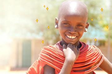 웃고 있는 흑인아동