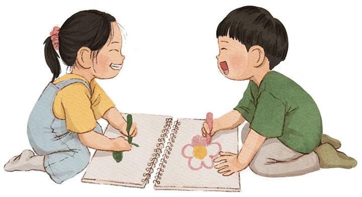 스케치북에 색칠공부를 하고 있는 두 아동을 그린 일러스트
