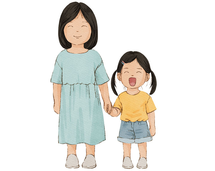 서로 손을 잡고 있는 여자 아이와 여성 어른을 그린 일러스트