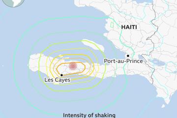 아이티 남서부 니프 주 지진 발생 지도